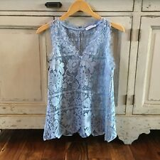 S New Anthropologie Battenburg Lace Blue Blouse Tank Top Women's Size SMALL