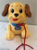 FISHER PRICE DOG Pull Along Walking Toy Puppy Vintage Style 2005 Tan & Brown