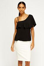 Womens Black Asymmetric Flare Top One Shoulder Sleeveless Crop Blouse Swing Tops