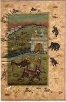 Mughal Miniature Painting Hunting Scene Fine art Gold work on Paper