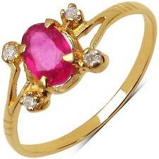 Bague Or jaune 10 K Rubis et Diamants