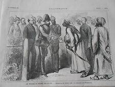 Gravure 1875 - Prince de Galles en Indes Entrevue avec le Maharana de Oudeypour