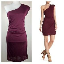 NWT H by Bordeaux One Shouder Mini HT Merlot Dress Size S