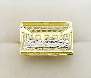 Men's 10K Yellow Gold Last Supper Pinky Ring Size 7