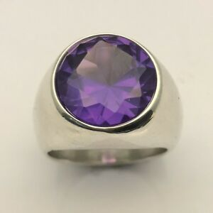 MJG STERLING SILVER MAN'S RING. 14MM LAB ALEXANDRITE . SIZE 10 1/4