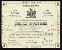 July 27, 1943 Newfoundland War Saving $3 Certificate - S/N: A70830