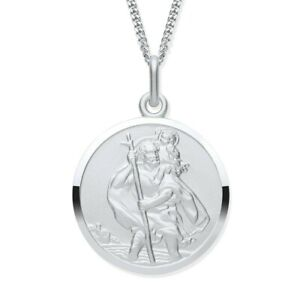 Sterling Silver ST Christopher MEN'S Pendant / Necklace - Choice of Chain