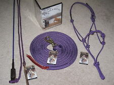 THOMEY NATURAL HORSE TRAINING SET~ STICK, LEAD, HALTER, & TRAINING DVD ~~ Purple