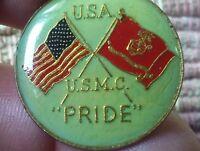 2 USA USMC crossed Flag pins Marine Corps