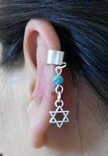 Una imitación de Turquesa Bead Estrella de David judía encanto Ear Cuff Clip Stud Wrap pendiente