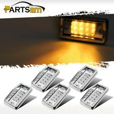 5x Cab marker Roof Running Top Light Clear/Amber 8LED w/ Chrome for Freightliner