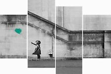 Huge Large 4 Panel Set Banksy Teal Balloon Hope Canvas Pictures Wall Art Prints