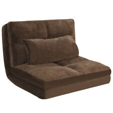 Fold Down Chair Flip Out Lounger Convertible Sleeper Couch Bed w/ Pillow Coffee