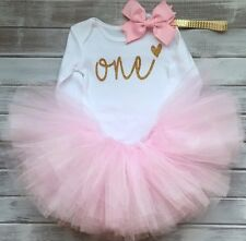 Baby Girls 1st First Birthday Outfit Cake Smash Tutu Skirt Top Headband Pink