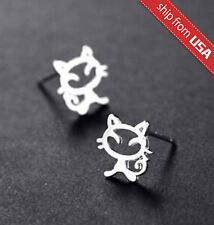 US 925 Sterling Silver Cat Kitty Kitten Designer Earrings Stud Novelty gift Cute