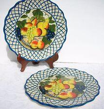 2 Raymond Waites Studio Certified International Dinner Plate Fruit in Bowl