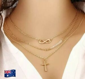 New Gold Plated Infinity Cross Pendant Necklace
