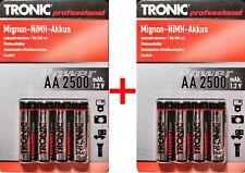 8x TRONIC AA / Mignon Ni-MH Akkus / 2500 - 1.2V - wiederaufladbare Batterie Akku