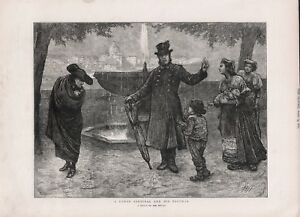 OLD 1872 PRINT WOMAN AND CHILDREN BEG FROM ROMAN CARDINAL AND HIS FOOTMAN B89