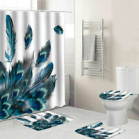 Peacock Feather Bathroom Shower Curtain Bath Mat Toilet Lid Cover Rug Sets Decor
