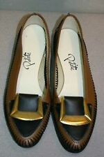 Nos 7.5 Vtg 1960s Flat Black Brown Laced Pointed Toe Gold Buckle Petite 50s Shoe