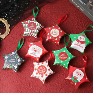 2021 NEW Christmas Star Tree Decoration Party Paper Favour Candy Gift Boxes x50