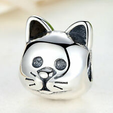 Curious Cat Bead .925 Sterling Silver Charm fit Xmas Bracelet/Necklace Chain