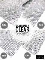 Iron On Diamante Transfer Strips Hot Fix Rhinestone Silver Mesh Crystal Clear