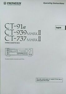 Pioneer CT-91a - CT-939 MK2 - CT-737MK2 - Cassette -  Instruction - USER MANUAL