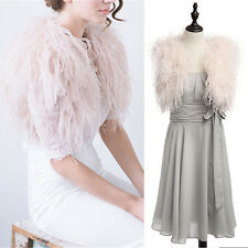 Women's Real Ostrich Feather Fur Bridal Bridesmaid Wedding Lovely Cape Wrap Pink