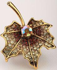 Maple Leaf Flower Stretch Ring Crystal Rhinestone Bling Jewelry Gold RF09
