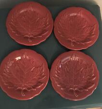 Longaberger Pottery Woven Tradition Falling Maple Leaf Set 4 Plates All Paprika