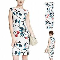 New AUTOGRAPH M&S Stunning White Pink Green Floral Scuba Bodycon Dress 10 -18