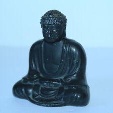 Vintage Japanese Miniature Black Metal Kamakura Diabatsu Buddha Figurine Signed