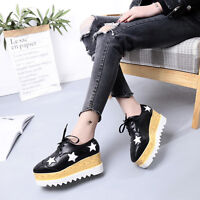 Casual Women's Lace Shoes Star Platform Creepers Leather Oxfords Wedge Sneakers
