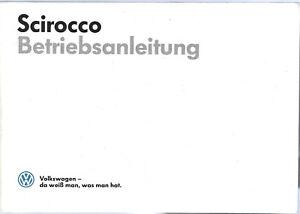 VW  SCIROCCO 2  Betriebsanleitung 1986 Bedienungsanleitung Handbuch Bordbuch BA