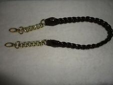 Replacement Strap for shoulder bag ] Brown Rope and Gold Tone Chain 14 in drop