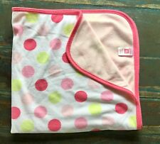Carters Pink White & Green Big Polka Dot Baby  Blanket Fleece Swaddle