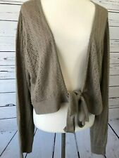 Torrid Plus Size 3 3X crochet Sweater Beige Knot Shrug Cardigan  Knit Tie Front