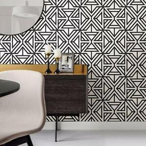 Triangle Geometric Wallpaper in Black & White Monochrome