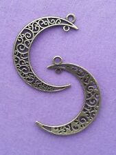 10 x BRONZO FILIGRANA Crescent Moon charms ciondolo connettore 38 mm Pagano Wicca