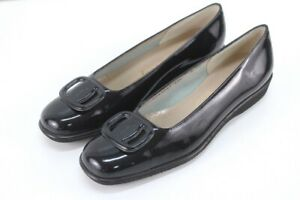 NEW womens black patent SALVATORE FERRAGAMO dory loafers shoes buckle 8AA N