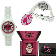 Barbie Ceramic Watch with Pink Crystals. White Ceramic Band. Water Resistant