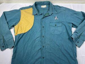 Red Head Shooting Shirt 2X XXL Mallard Green Padded Flannel Vintage Vintage