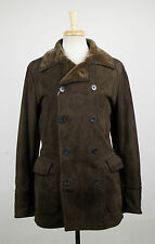 New. CANALI Brown Suede Shearling Leather PeaCoat Size 54/44 $5000