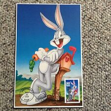 """U.S.First Day Issue """"BUGS BUNNY"""" Card 4-1/2"""" x 7"""" w/stamp #3137a 5/22/1997"""
