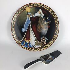 "Holiday Style Cake Serving Set Plate & Server 12 1/2"" Ceremic Santa with List"