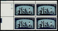 US #2153 22¢ Social Security Act UL Plate Block MNH