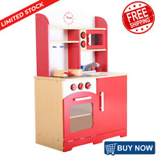 Kids Cooking Pretend Play Toy Kitchen Set Vintage Wooden Toodler Play Food Red