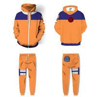 Naruto Shippuden Hokage Uzumaki Hoodie Jacket Sweatshirt Pant Costume Cosplay